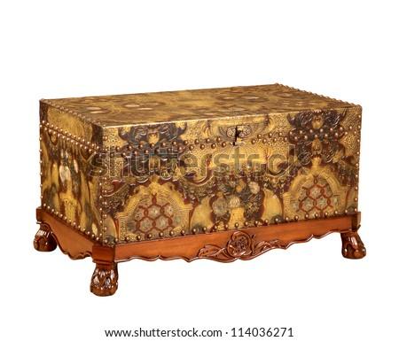 Closed treasure chest indoors - stock photo