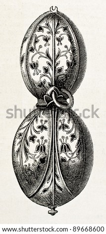 Closed tulip shaped old clock (Charles IX age)) from Prince Saltycov collection. Engraved by Jourdan, published on L'Illustration, Journal Universel, Paris, 1858 - stock photo