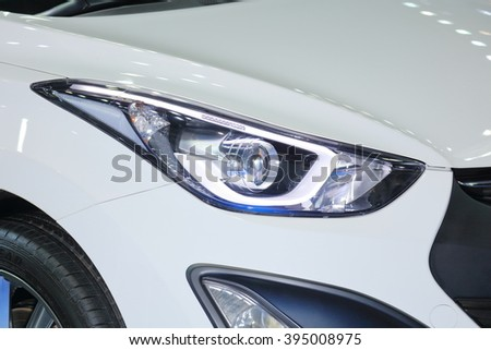 Closed up amp head of the car. - stock photo