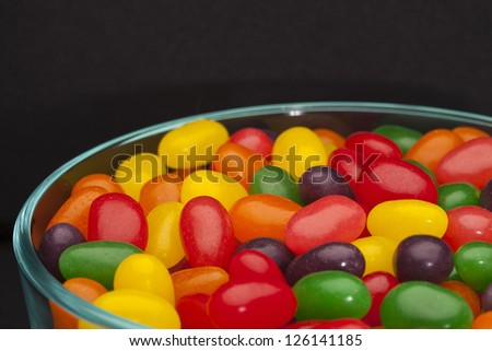 Closed up bowl of assorted jelly beans - stock photo