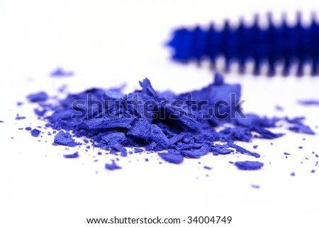Closed up  deep blue make-up eyeshadows - stock photo
