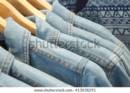 Closed up Denim shirts in the shopping mall