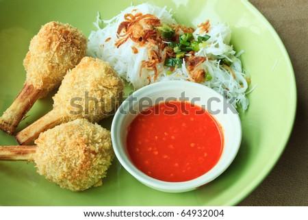 Closed-up Fried shrimp with sugarcane - Vietnamese food - stock photo
