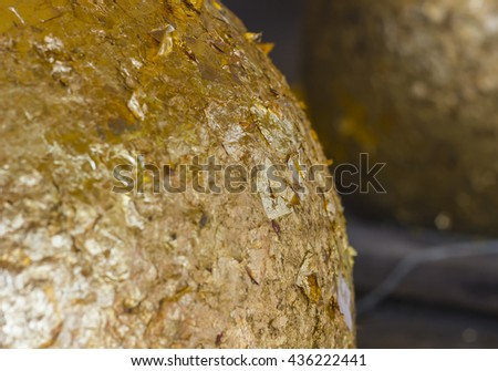 Closed up Golden Gilded Buddha. copy space and selective focus. - stock photo