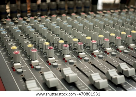 closed up of Air Equalizer / sound mixer console and button and mixed channel equipment