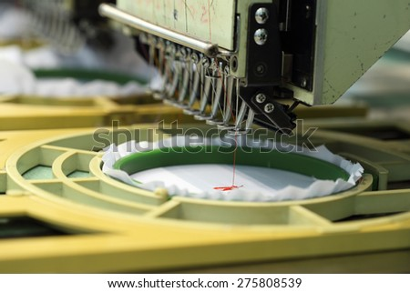 closed-up of Machine embroidery is an embroidery process whereby a sewing machine - stock photo