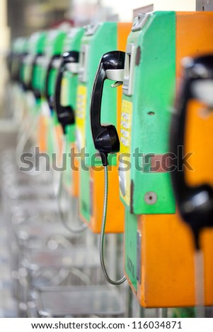 Closed up of public phones in the railway station. - stock photo