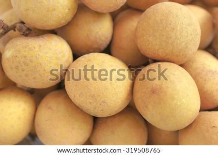 Closed up pattern of Longan [Dimocarpus longan] and seeds, Tropical South East Asian fruit, Local Thai Fruits, Selective focus - stock photo