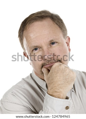 Closed up portrait of an attractive old man holding his chin over a white background - stock photo