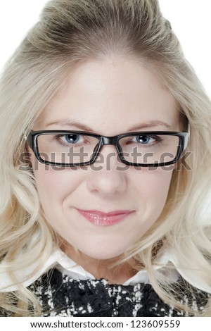 Closed up shot of a caucasian woman wearing eyeglasses - stock photo