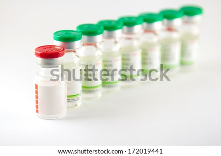 Closed up stack medicine injection vial - stock photo