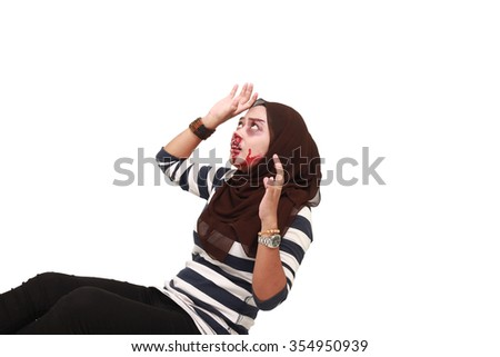 Closed up STOP Violence With Women, Beaten white woman with cuts and bruises with a white background - stock photo