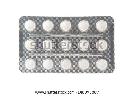 Closed up white tablet in transparent blister pack - stock photo