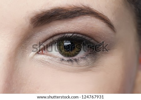 Closed up woman's green eye