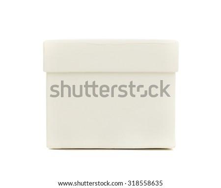 Closed white box on isolated white background - stock photo