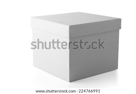 Closed White Cardboard Carton Gift Box With Lid. Illustration Isolated On White Background. This has clipping path. - stock photo