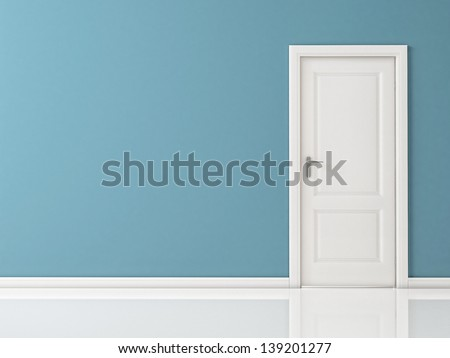 Closed White Door on Blue Wall Reflective Floor & Closed White Door On Blue Wall Stock Illustration 139201277 ...