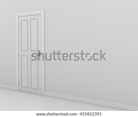 Closed White Door on white Wall, 3d rendering