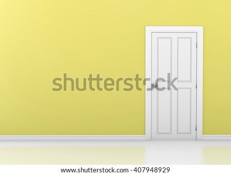Closed White Door on yellow wall, 3d rendering - stock photo