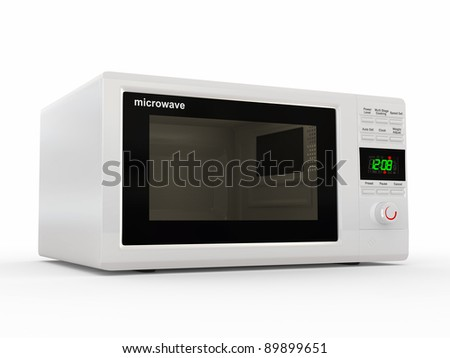 Closed white microwave on white background. 3d - stock photo