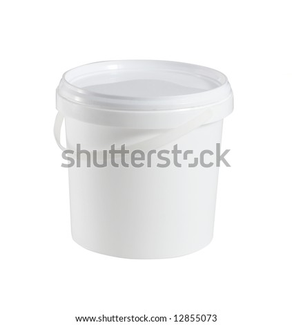 Closed white plastic container for food (with clipping path for easy background removing if needed)
