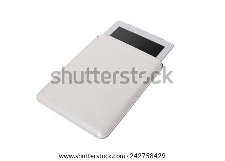 Closed white tablet case on white background - stock photo