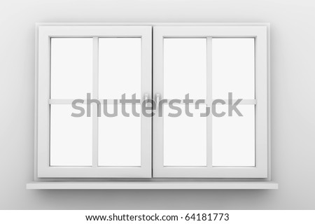 Closed white window isolated on a white wall - stock photo