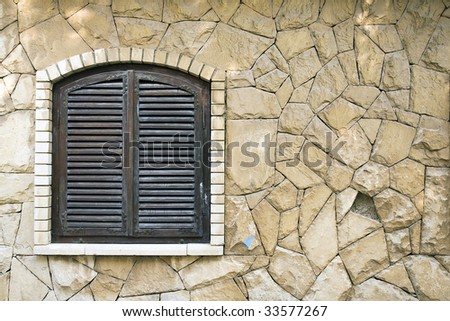 closed window and copyspace - stock photo