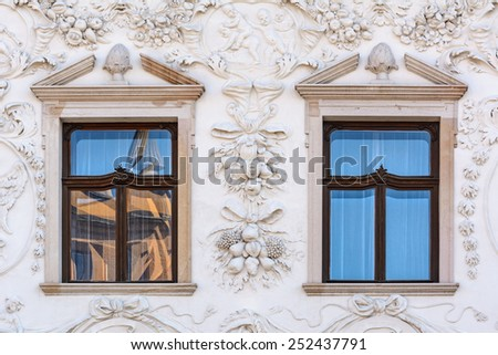 Closed Windows Of An Old Building In Presov, Slovakia - stock photo