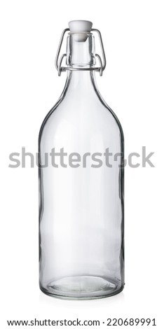 Closed wine bottle on white background  - stock photo