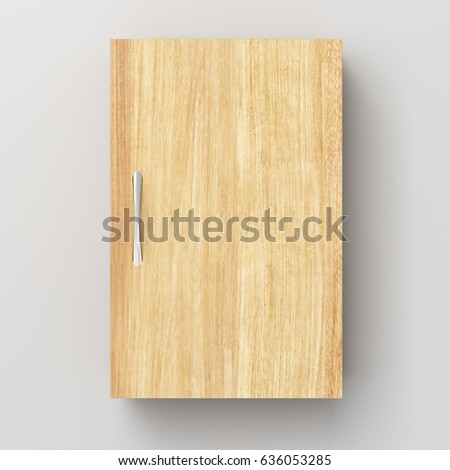 Closed Wooden Bathroom Cabinet Isolated On White Wall With Clipping Path 3d Illustration