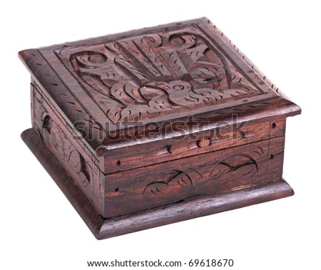 Closed wooden box, isolated on a white background - stock photo