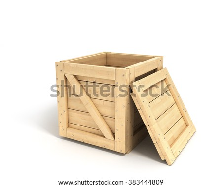 closed wooden box isolated on white background with clipping path - stock photo