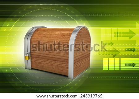 Closed wooden box with padlock - stock photo