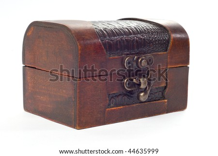Closed wooden chest - stock photo