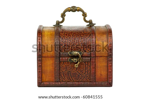 Closed wooden chest  isolated on the white background