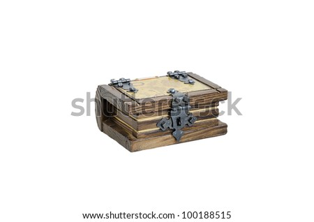 Closed wooden chest with an old map. Concept of: business, money, pirates and treasure, isolated over white, macro closeup, close-up with copy space