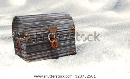Closed wooden chest with padlock - stock photo