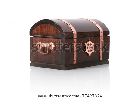 Closed wooden chest with reflection, isolated on white - stock photo