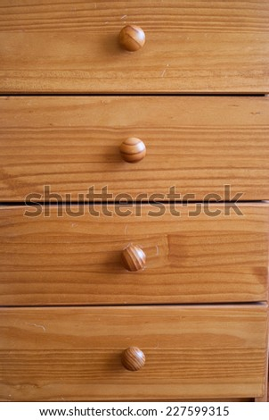 Closed wooden drawers - stock photo