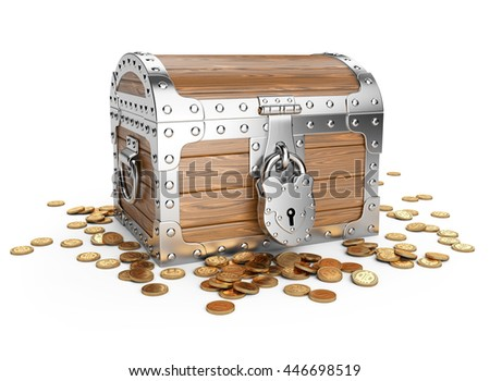 Closed wooden treasure chest with golden coins. Isolated on a white background 3d image. - stock photo