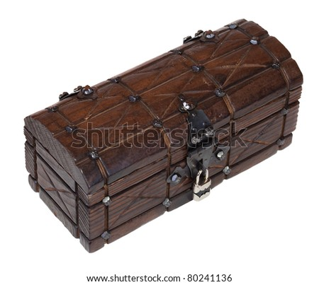 Closed wooden treasure, isolated over white background - stock photo