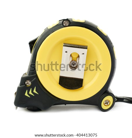 Closed Working construction Measuring tape over isolated white background