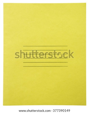 Closed yellow notebook isolated on white background with clipping path - stock photo