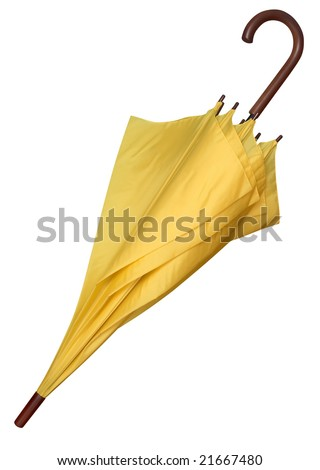 Closed yellow umbrella isolated on white background. Clipping path. - stock photo