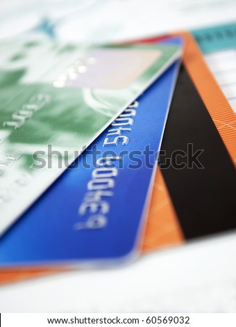 Closer look at credit cards - stock photo