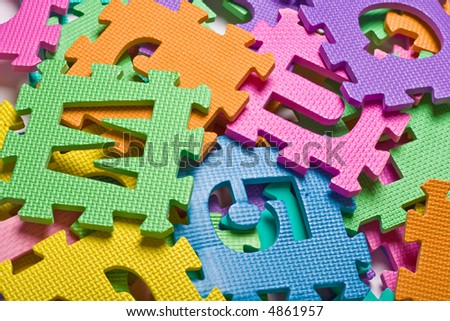 Closer up view of the color letters background - stock photo