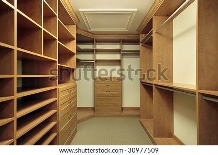 Closet in luxury home - stock photo