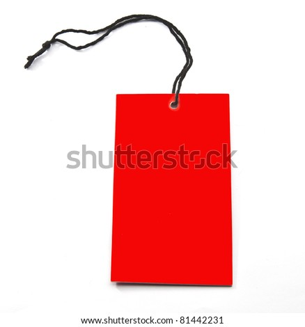 Closeup a red paper tag, label or sticker - stock photo