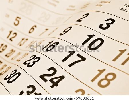 Closeup a toned calendar page - stock photo